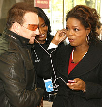 Bono and Oprah with Red iPod nano
